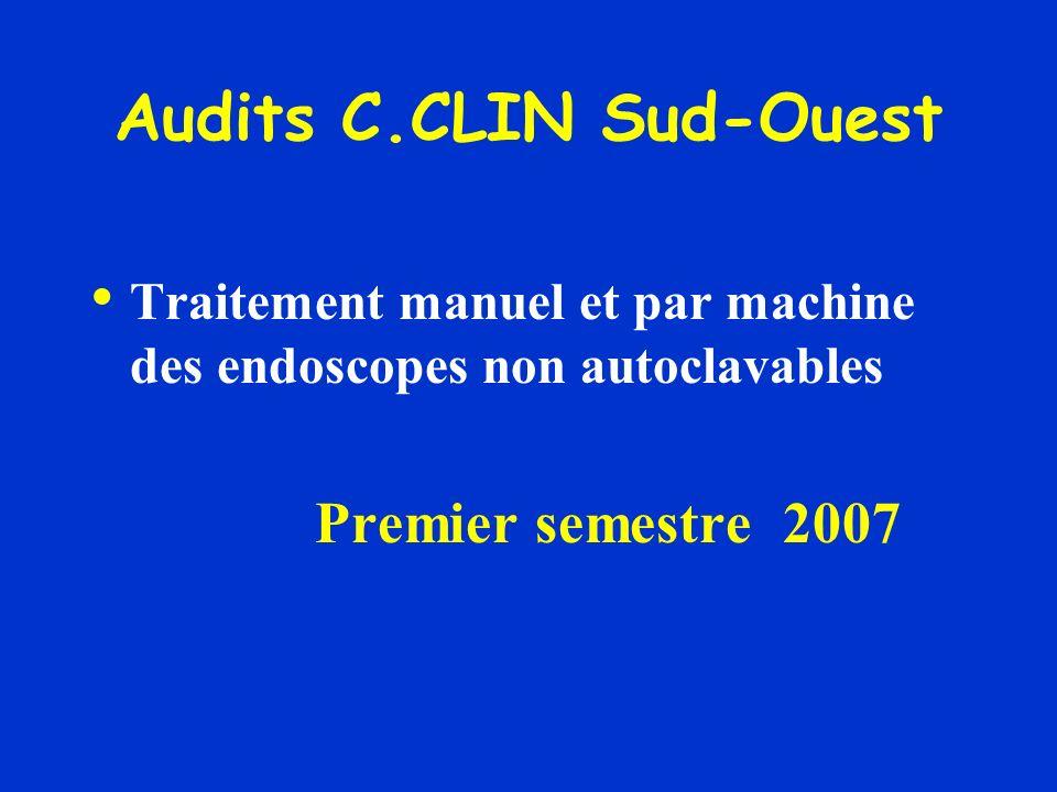 Audits C.CLIN Sud-Ouest Traitement manuel et par machine des endoscopes non autoclavables Premier semestre 2007