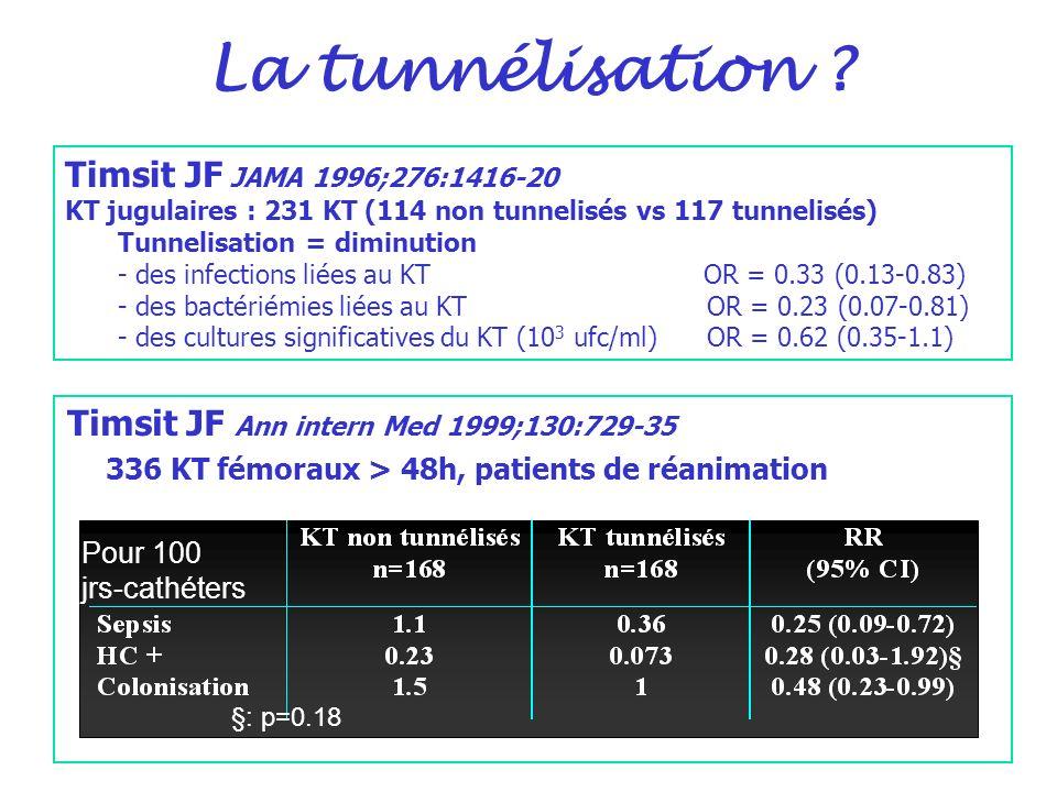 La tunnélisation ? Timsit JF Ann intern Med 1999;130:729-35 336 KT fémoraux > 48h, patients de réanimation Pour 100 jrs-cathéters §: p=0.18 Timsit JF
