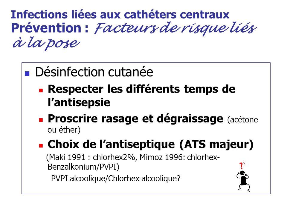 Infections liées aux cathéters centraux Prévention : Facteurs de risque liés à la pose Désinfection cutanée Respecter les différents temps de lantisep