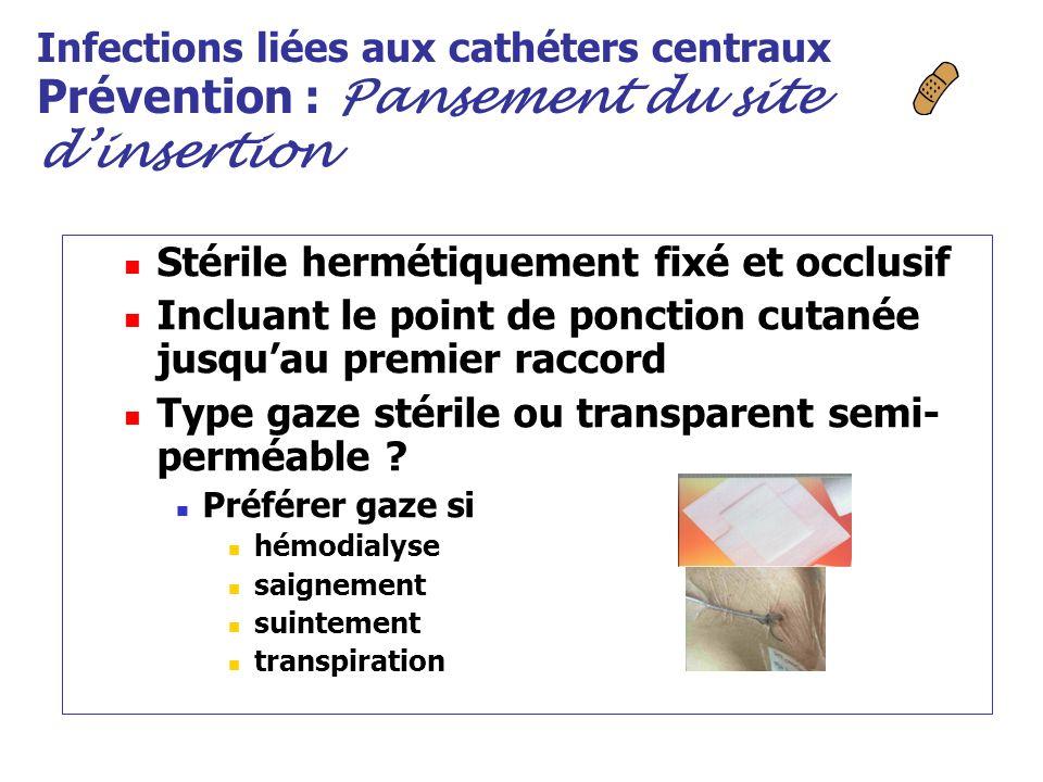 Infections liées aux cathéters centraux Prévention : Pansement du site dinsertion Stérile hermétiquement fixé et occlusif Incluant le point de ponctio