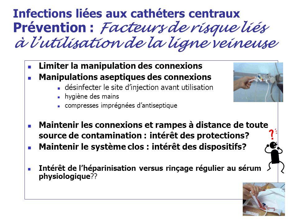 Infections liées aux cathéters centraux Prévention : Facteurs de risque liés à lutilisation de la ligne veineuse Limiter la manipulation des connexion
