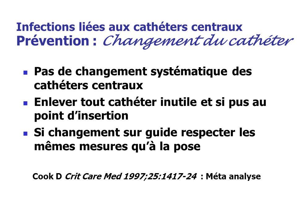Infections liées aux cathéters centraux Prévention : Changement du cathéter Pas de changement systématique des cathéters centraux Enlever tout cathéte