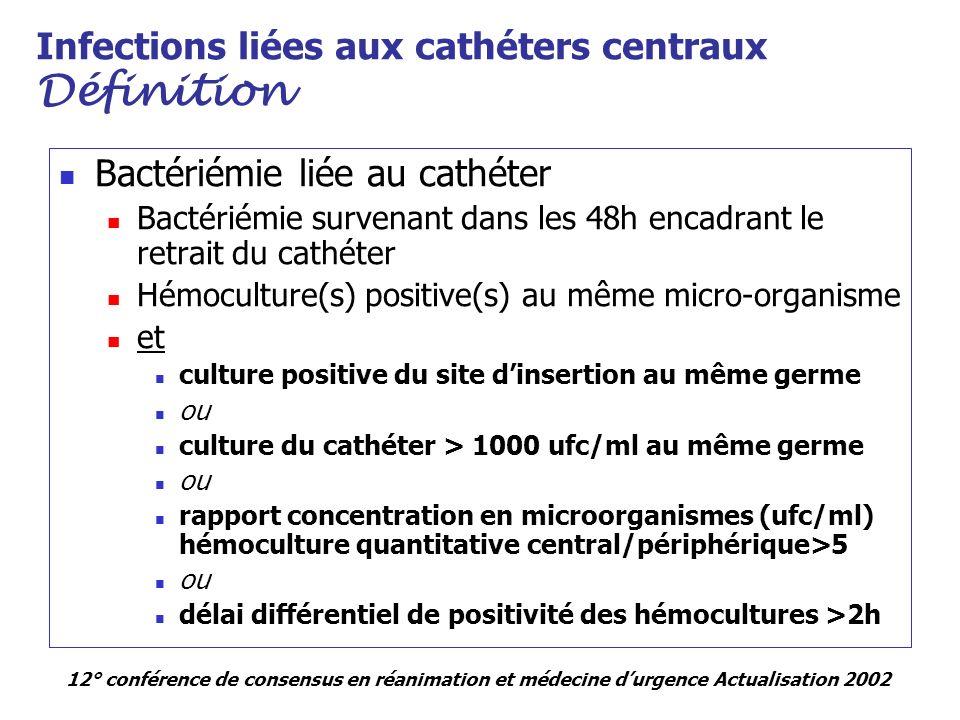 Infections liées aux cathéters centraux Définition Bactériémie liée au cathéter Bactériémie survenant dans les 48h encadrant le retrait du cathéter Hé