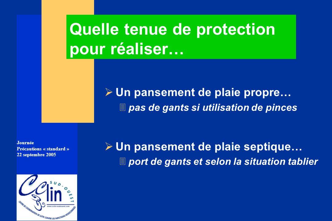 Journée Précautions « standard » 22 septembre 2005 Un pansement de plaie propre… 3pas de gants si utilisation de pinces Un pansement de plaie septique