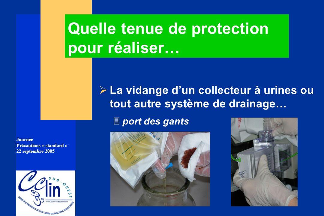 Journée Précautions « standard » 22 septembre 2005 La vidange dun collecteur à urines ou tout autre système de drainage… 3port des gants Quelle tenue