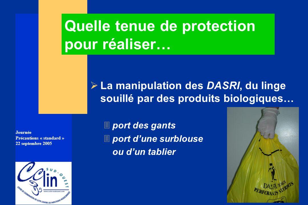 Journée Précautions « standard » 22 septembre 2005 La manipulation des DASRI, du linge souillé par des produits biologiques… 3port des gants 3port dun