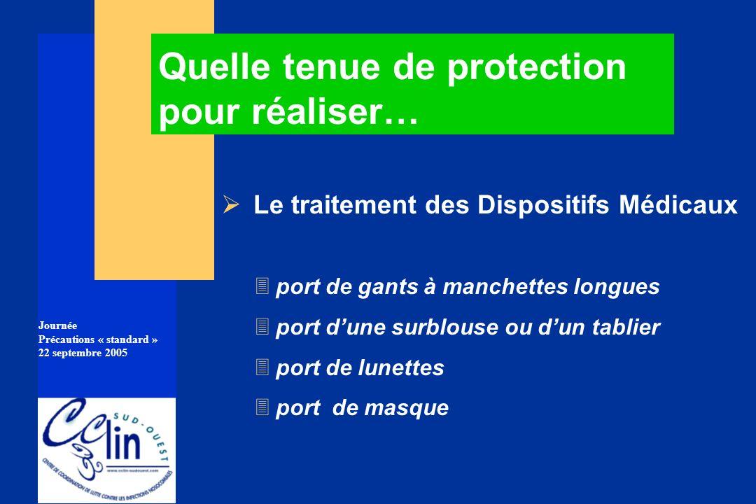 Journée Précautions « standard » 22 septembre 2005 Le traitement des Dispositifs Médicaux 3port de gants à manchettes longues 3port dune surblouse ou