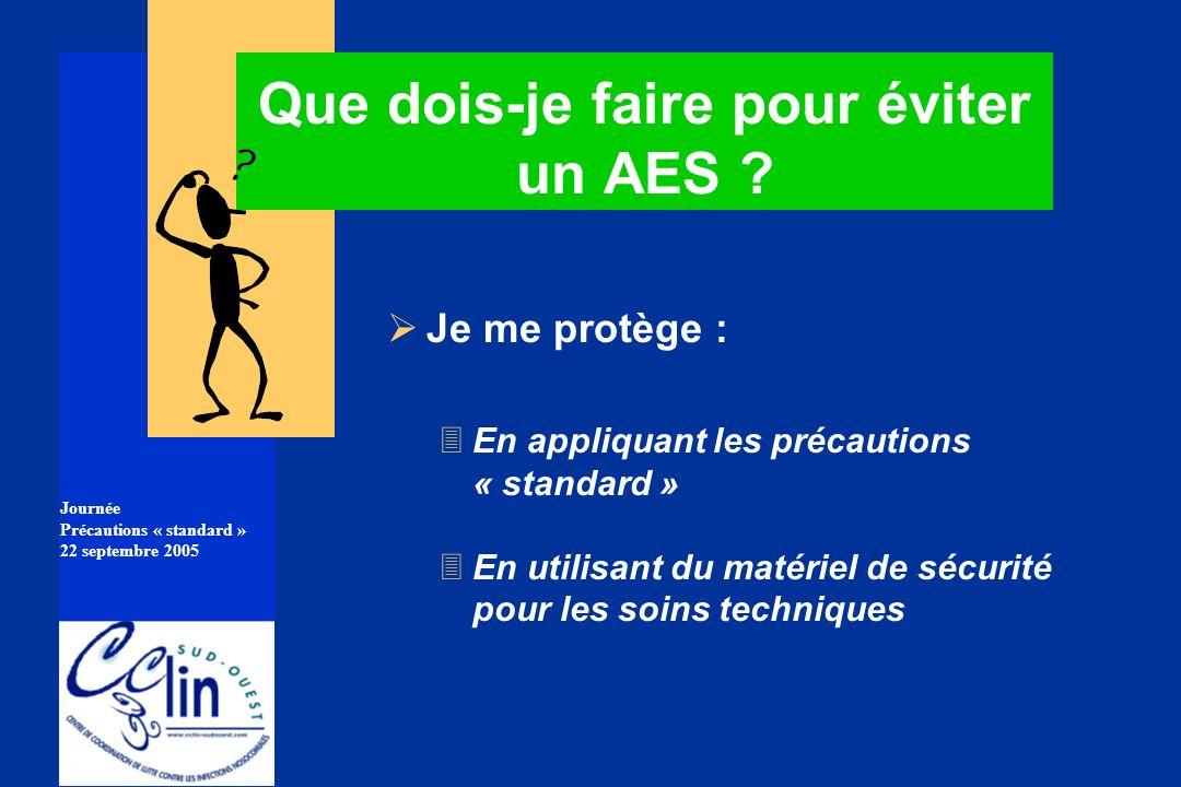 Journée Précautions « standard » 22 septembre 2005 Que dois-je faire pour éviter un AES ? Je me protège : 3En appliquant les précautions « standard »