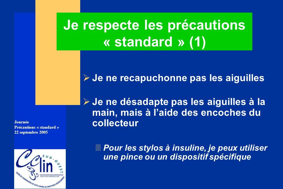 Journée Précautions « standard » 22 septembre 2005 Je respecte les précautions « standard » (1) Je ne recapuchonne pas les aiguilles Je ne désadapte p