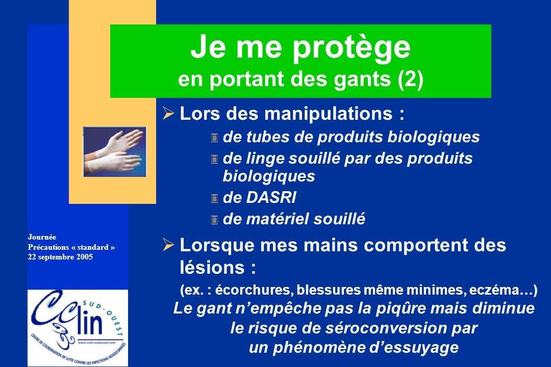 Journée Précautions « standard » 22 septembre 2005 Je me protège en portant des gants (2) Lors des manipulations : 3 de tubes de produits biologiques