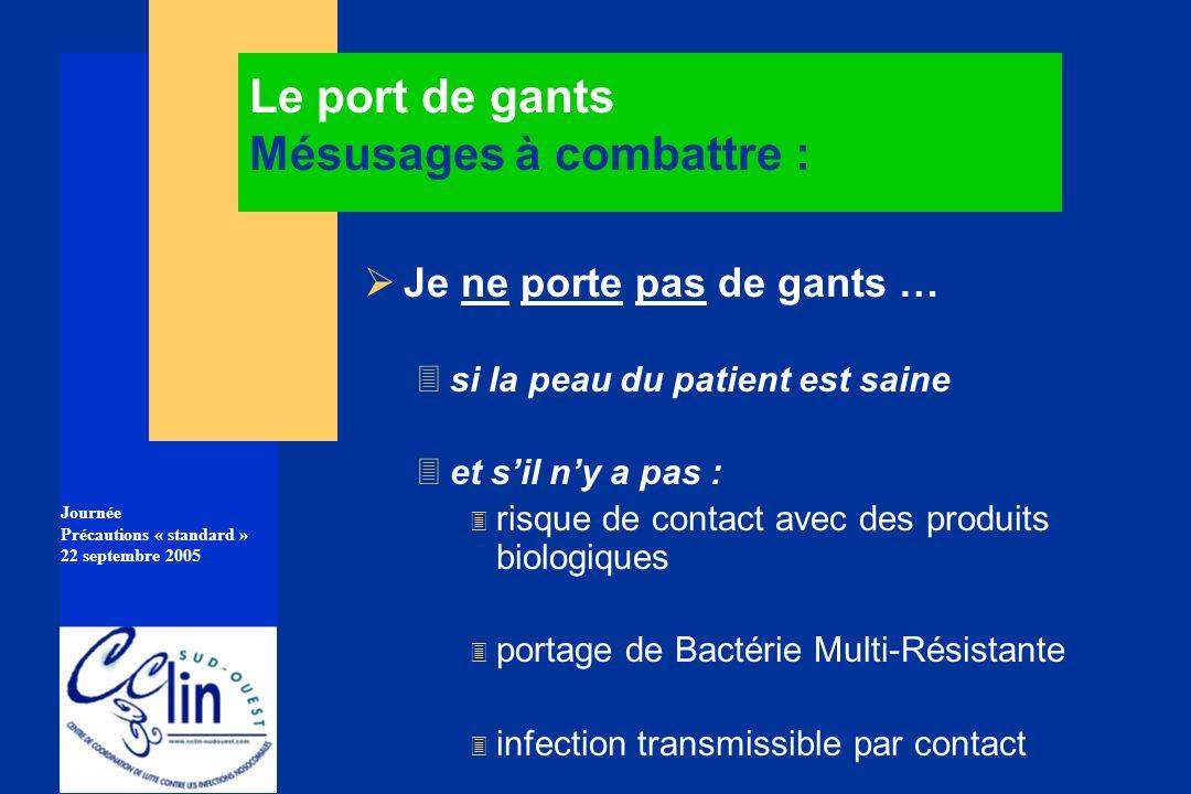 Journée Précautions « standard » 22 septembre 2005 Le port de gants Mésusages à combattre : Je ne porte pas de gants … 3si la peau du patient est sain