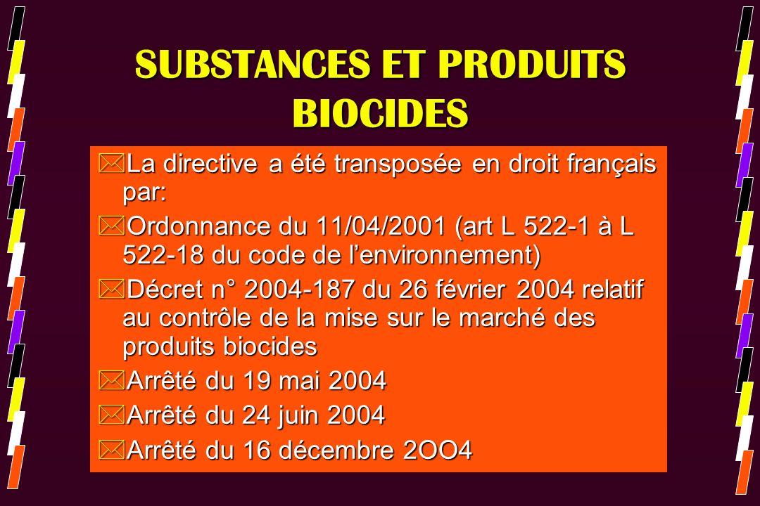 SUBSTANCES ET PRODUITS BIOCIDES *La directive a été transposée en droit français par: *Ordonnance du 11/04/2001 (art L 522-1 à L 522-18 du code de len