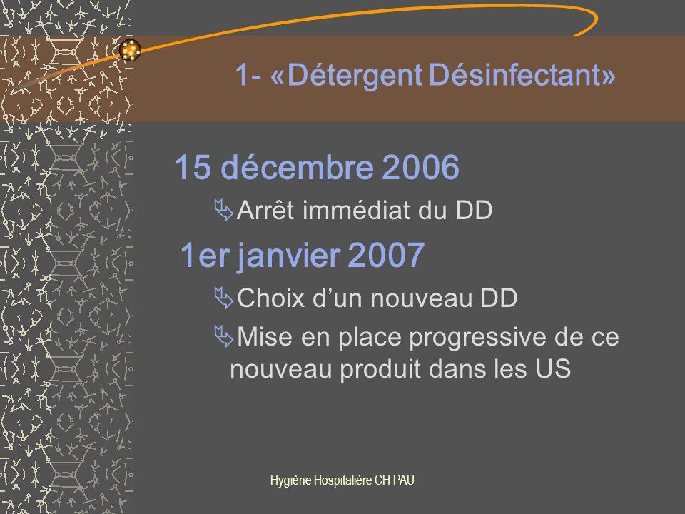 Hygiène Hospitalière CH PAU 2 – 3 – «Détartrant» et «Détergent-surpuissant» Printemps 2007 projet 2006 : 2 nouveaux produits 1 Détartrant 1 Détergent alcalin