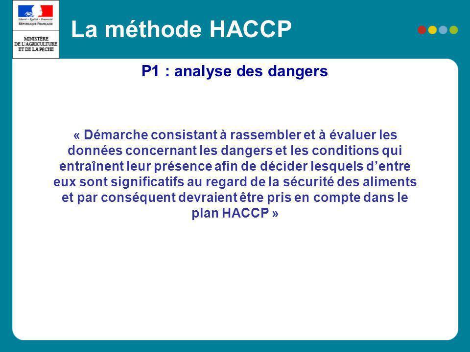 P1 : analyse des dangers La méthode HACCP « Démarche consistant à rassembler et à évaluer les données concernant les dangers et les conditions qui ent