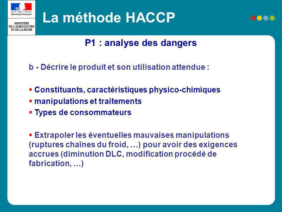 P1 : analyse des dangers La méthode HACCP b - Décrire le produit et son utilisation attendue : Constituants, caractéristiques physico-chimiques manipu