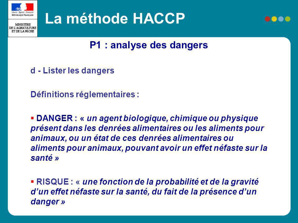 P1 : analyse des dangers La méthode HACCP d - Lister les dangers Définitions réglementaires : DANGER : « un agent biologique, chimique ou physique pré