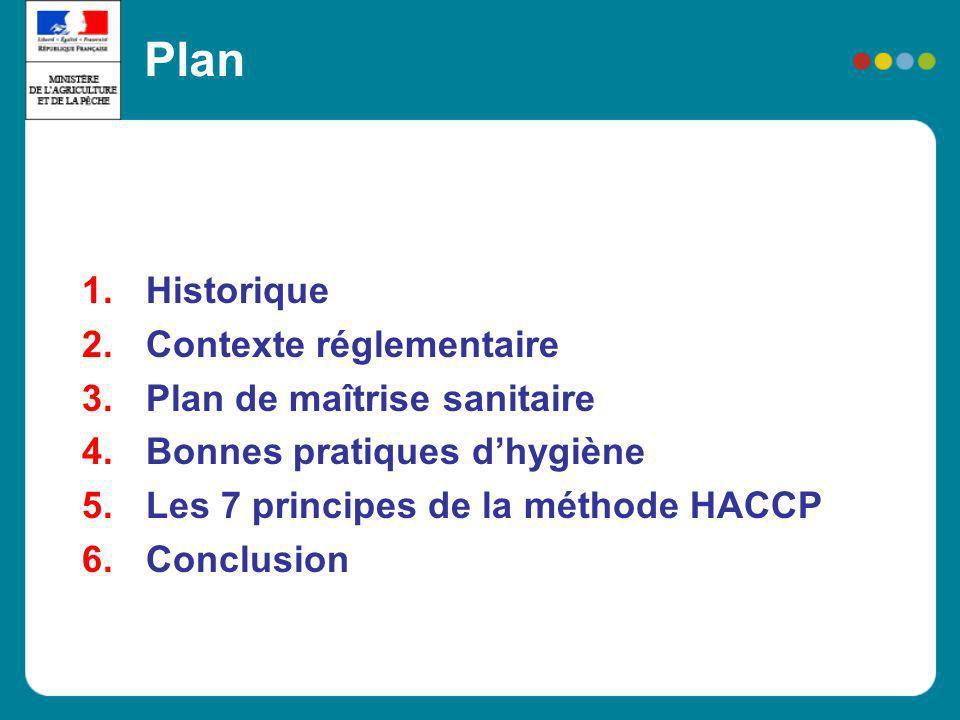 P7 : Établir système denregistrement et de documentation La méthode HACCP Les registres sont essentiels dans létude de la validité du plan HACCP et la conformité du système effectivement mis en place au plan HACCP Présence de supports denregistrement Archivage Exemples : - élaboration du plan HACCP, - surveillance, déviations et actions correctives pour chaque CCP, - méthodes et procédures utilisées, - programmes de formation du personnel, - etc.