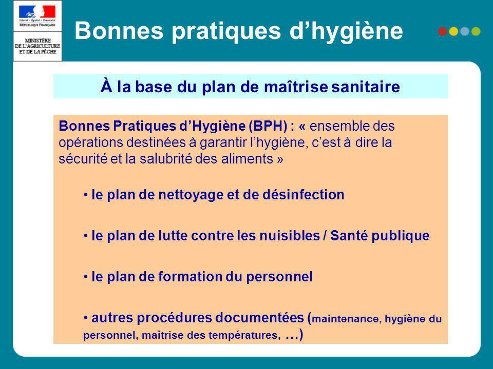 À la base du plan de maîtrise sanitaire Bonnes Pratiques dHygiène (BPH) : « ensemble des opérations destinées à garantir lhygiène, cest à dire la sécu