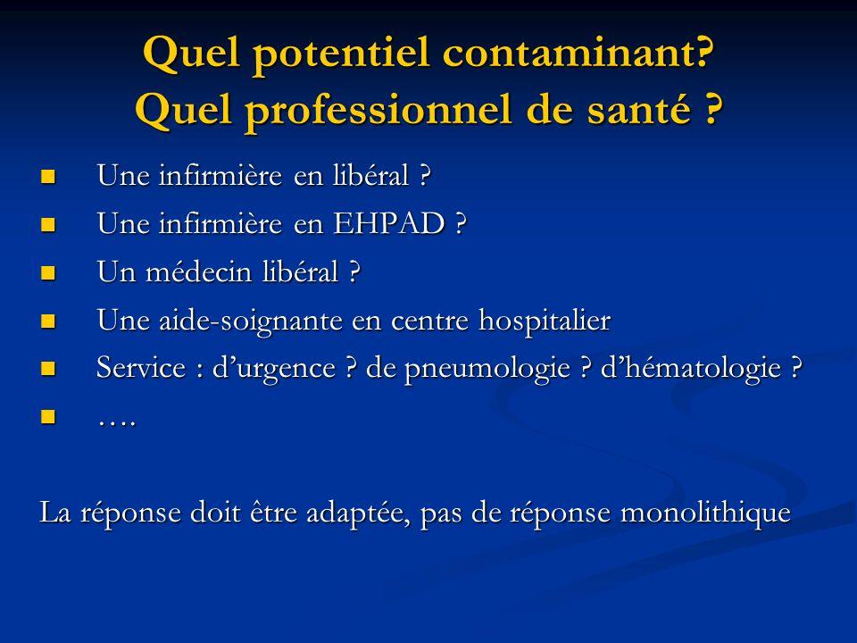 Quel potentiel contaminant? Quel professionnel de santé ? Une infirmière en libéral ? Une infirmière en libéral ? Une infirmière en EHPAD ? Une infirm