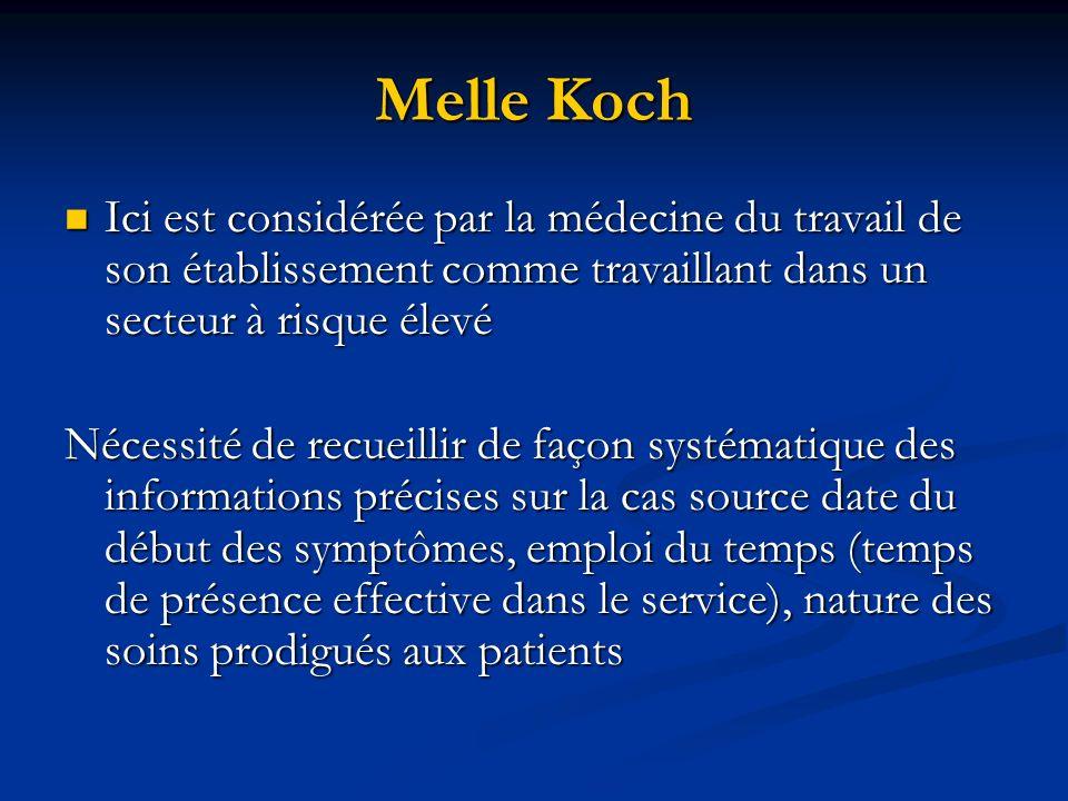 Melle Koch Ici est considérée par la médecine du travail de son établissement comme travaillant dans un secteur à risque élevé Ici est considérée par