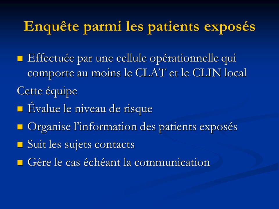 Enquête parmi les patients exposés Effectuée par une cellule opérationnelle qui comporte au moins le CLAT et le CLIN local Effectuée par une cellule o