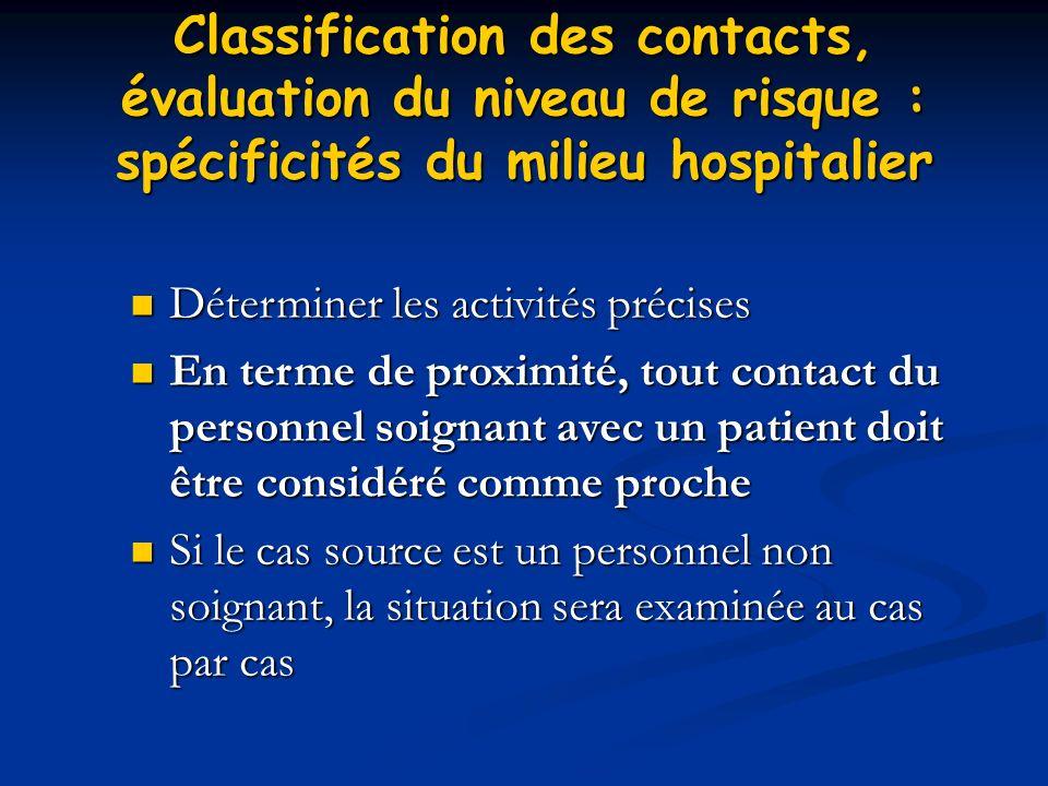 Classification des contacts, évaluation du niveau de risque : spécificités du milieu hospitalier Déterminer les activités précises Déterminer les acti