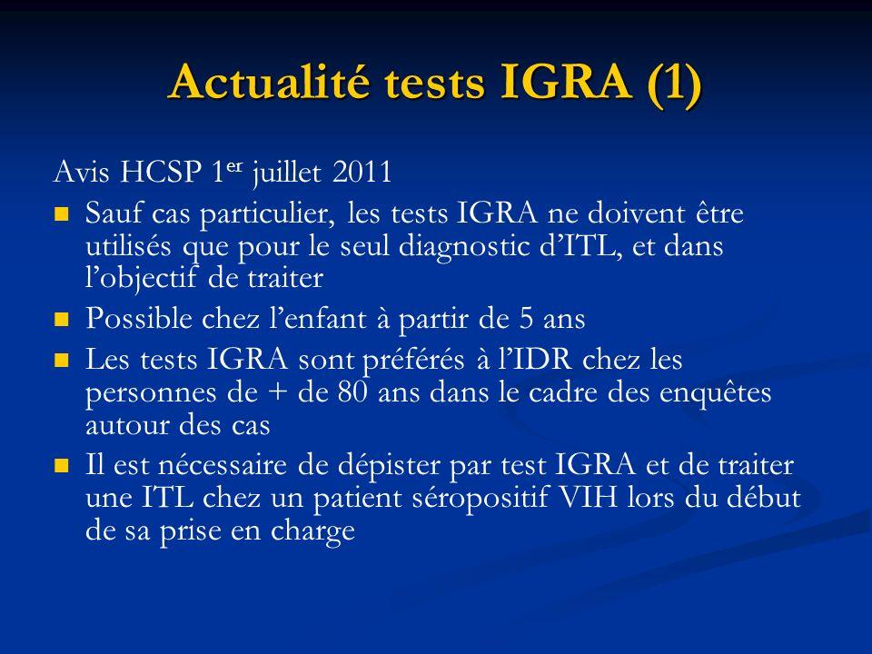 Actualité tests IGRA (1) Avis HCSP 1 er juillet 2011 Sauf cas particulier, les tests IGRA ne doivent être utilisés que pour le seul diagnostic dITL, e
