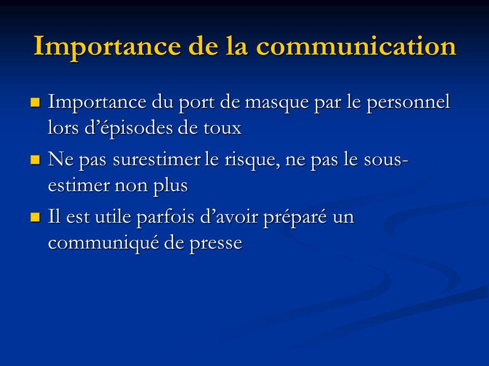 Importance de la communication Importance du port de masque par le personnel lors dépisodes de toux Importance du port de masque par le personnel lors