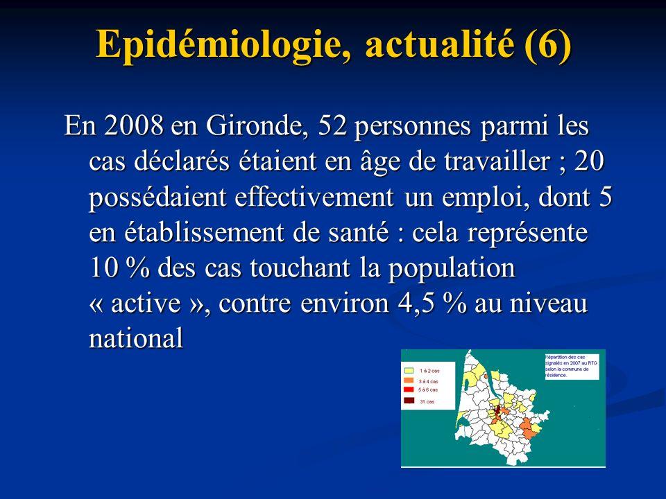 Epidémiologie, actualité (6) En 2008 en Gironde, 52 personnes parmi les cas déclarés étaient en âge de travailler ; 20 possédaient effectivement un em
