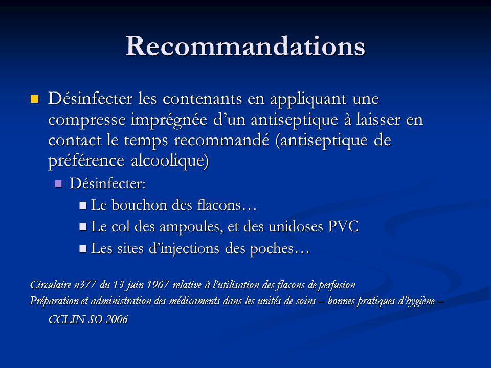 Recommandations Désinfecter les contenants en appliquant une compresse imprégnée dun antiseptique à laisser en contact le temps recommandé (antiseptiq
