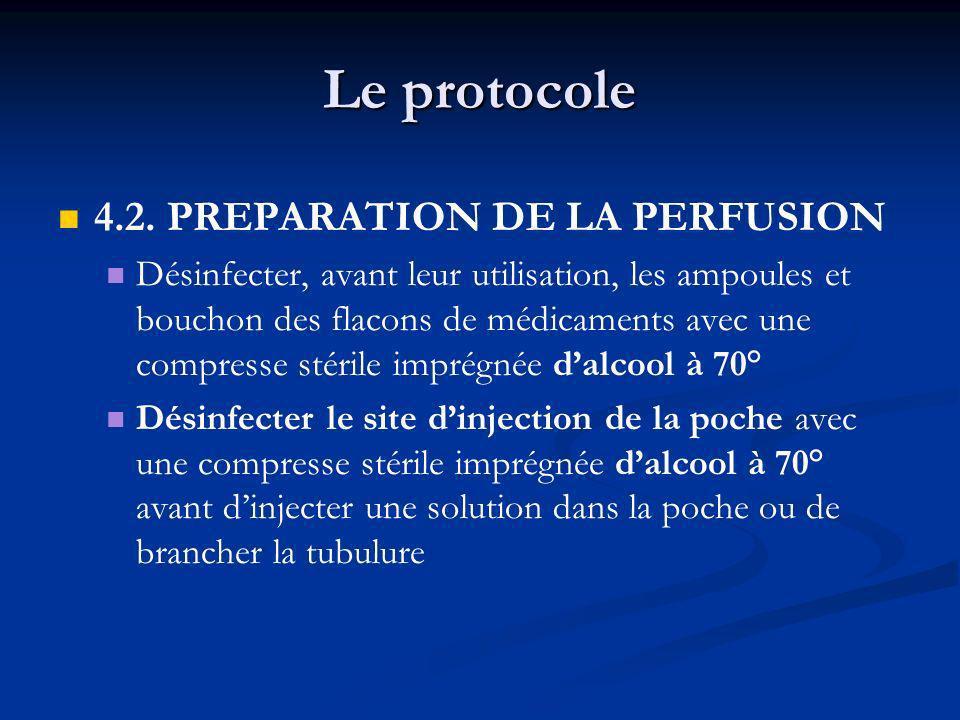 Le protocole 4.2. PREPARATION DE LA PERFUSION Désinfecter, avant leur utilisation, les ampoules et bouchon des flacons de médicaments avec une compres