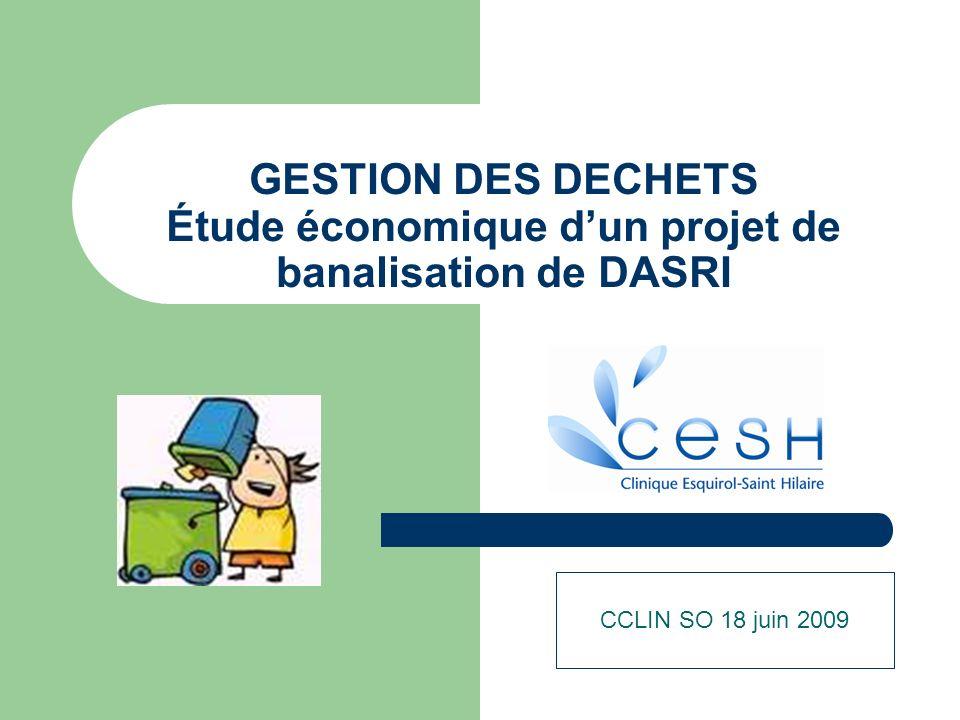 GESTION DES DECHETS Étude économique dun projet de banalisation de DASRI CCLIN SO 18 juin 2009