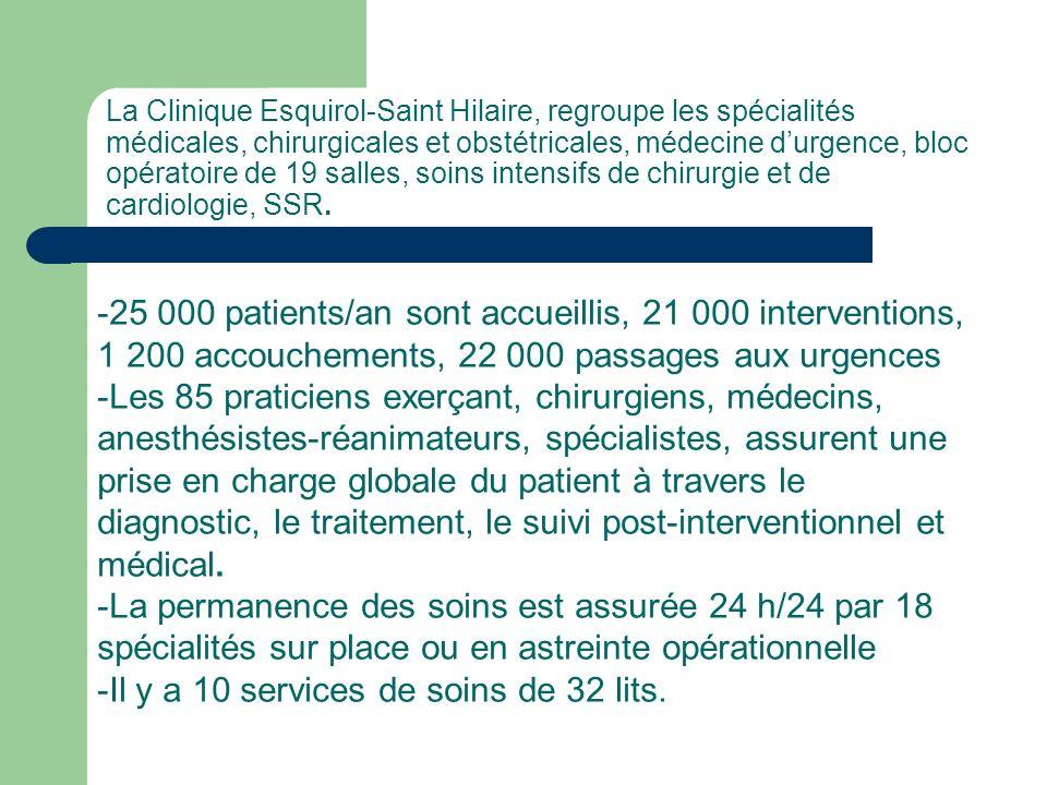 La Clinique Esquirol-Saint Hilaire, regroupe les spécialités médicales, chirurgicales et obstétricales, médecine durgence, bloc opératoire de 19 salle