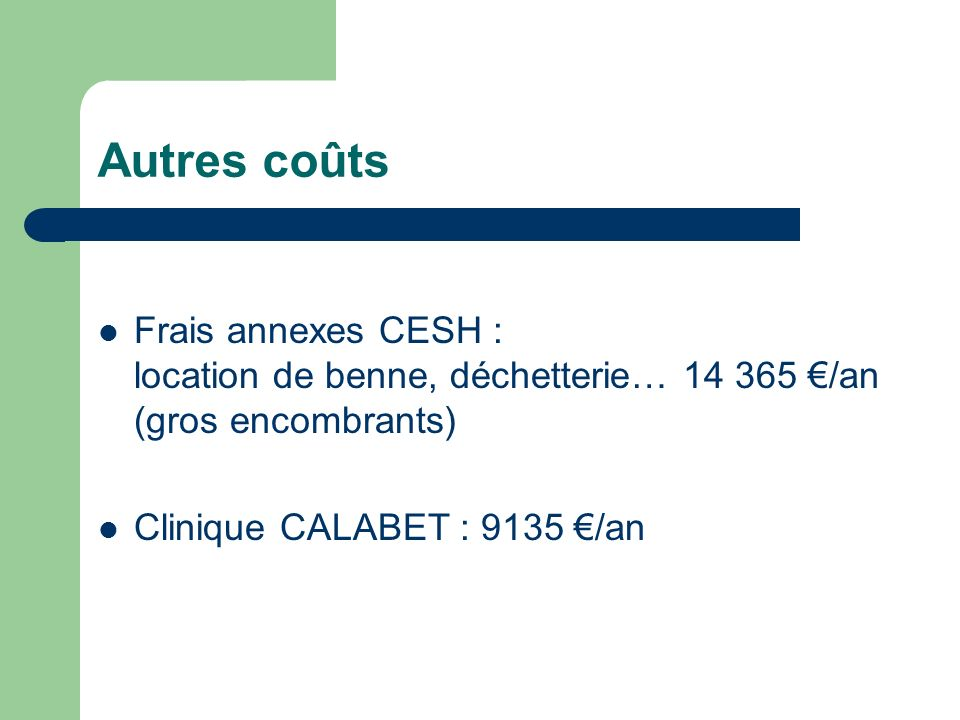 Autres coûts Frais annexes CESH : location de benne, déchetterie… 14 365 /an (gros encombrants) Clinique CALABET : 9135 /an