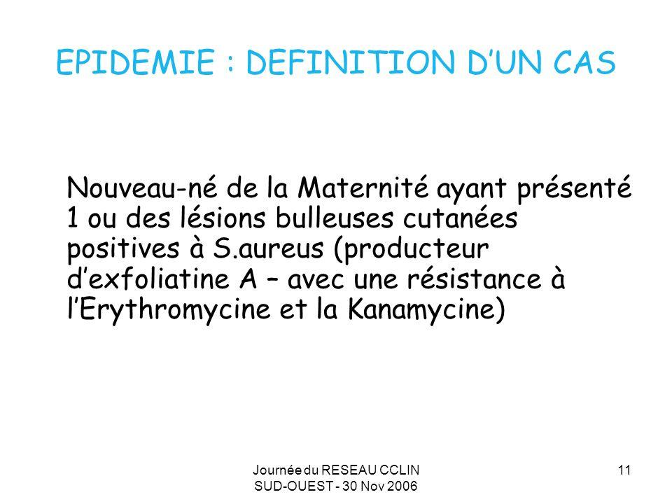 Journée du RESEAU CCLIN SUD-OUEST - 30 Nov 2006 11 EPIDEMIE : DEFINITION DUN CAS Nouveau-né de la Maternité ayant présenté 1 ou des lésions bulleuses