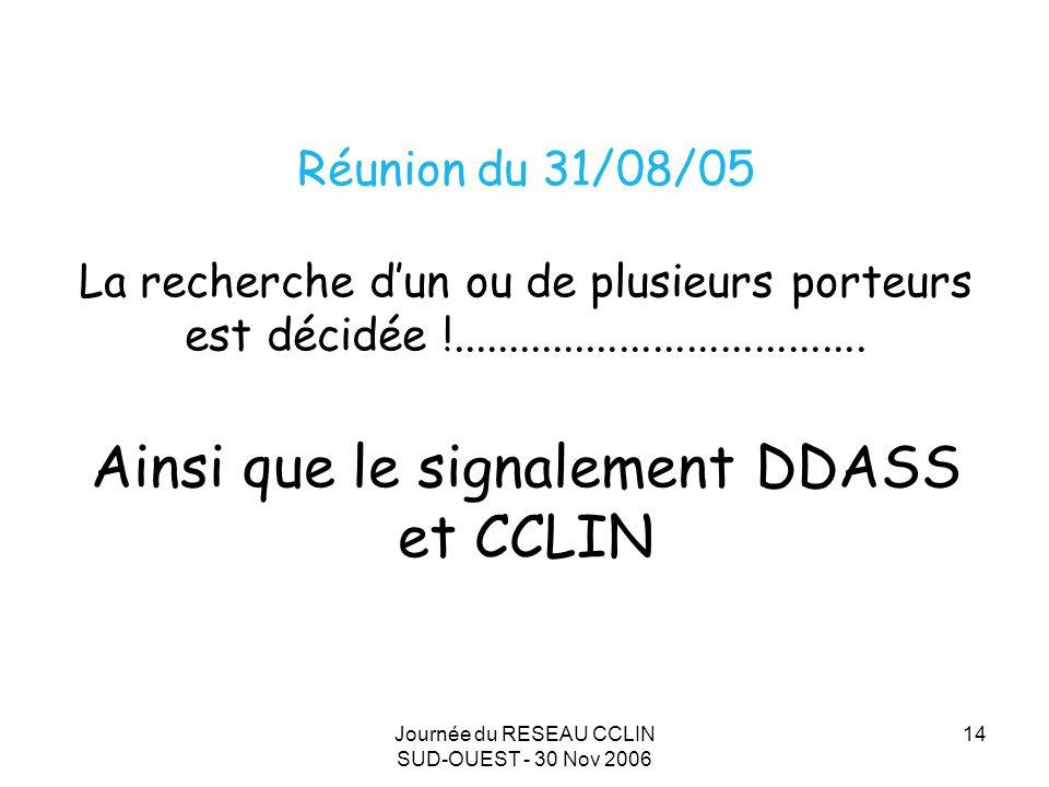 Journée du RESEAU CCLIN SUD-OUEST - 30 Nov 2006 14 Réunion du 31/08/05 La recherche dun ou de plusieurs porteurs est décidée !.....................................