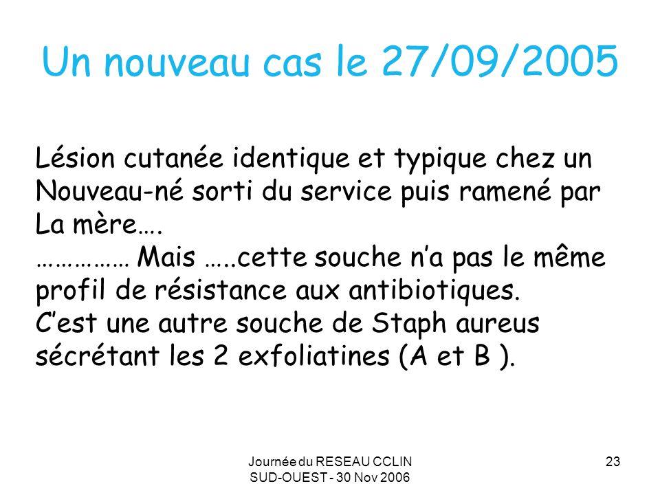 Journée du RESEAU CCLIN SUD-OUEST - 30 Nov 2006 23 Un nouveau cas le 27/09/2005 Lésion cutanée identique et typique chez un Nouveau-né sorti du service puis ramené par La mère….