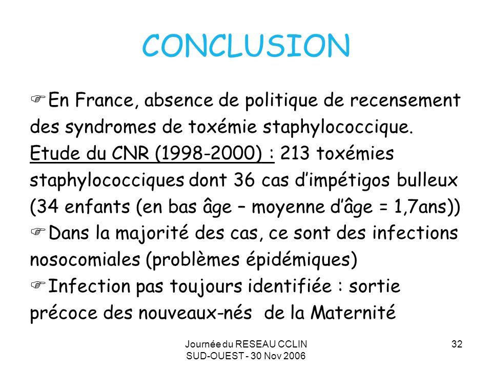 Journée du RESEAU CCLIN SUD-OUEST - 30 Nov 2006 32 CONCLUSION En France, absence de politique de recensement des syndromes de toxémie staphylococcique.