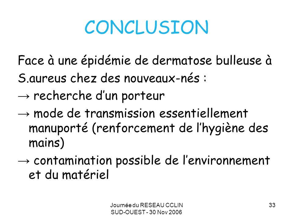 Journée du RESEAU CCLIN SUD-OUEST - 30 Nov 2006 33 CONCLUSION Face à une épidémie de dermatose bulleuse à S.aureus chez des nouveaux-nés : recherche d