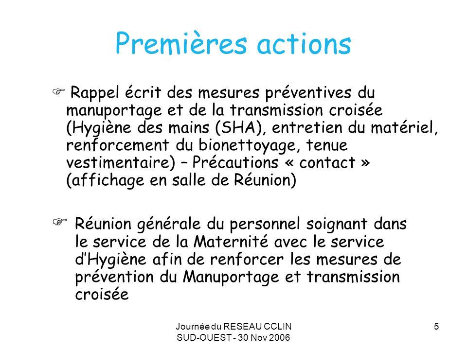 Journée du RESEAU CCLIN SUD-OUEST - 30 Nov 2006 5 Premières actions Rappel écrit des mesures préventives du manuportage et de la transmission croisée