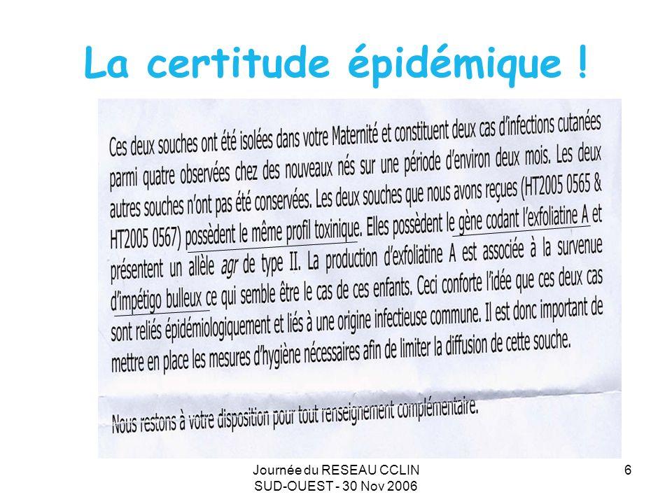 Journée du RESEAU CCLIN SUD-OUEST - 30 Nov 2006 6 La certitude épidémique !