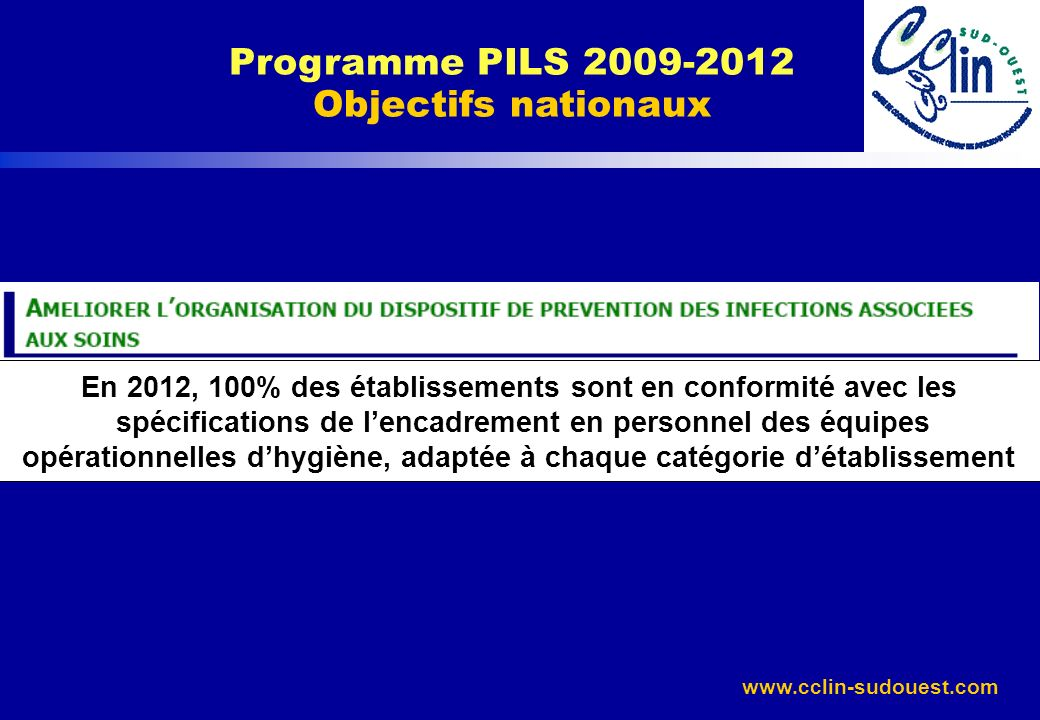www.cclin-sudouest.com Programme PILS 2009-2012 Objectifs nationaux En 2012, 100% des établissements sont en conformité avec les spécifications de len