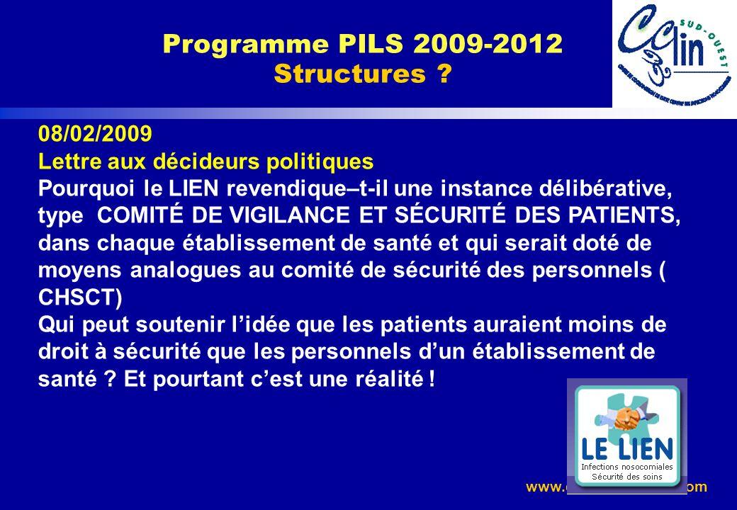 www.cclin-sudouest.com Programme PILS 2009-2012 Structures ? 08/02/2009 Lettre aux décideurs politiques Pourquoi le LIEN revendique–t-il une instance