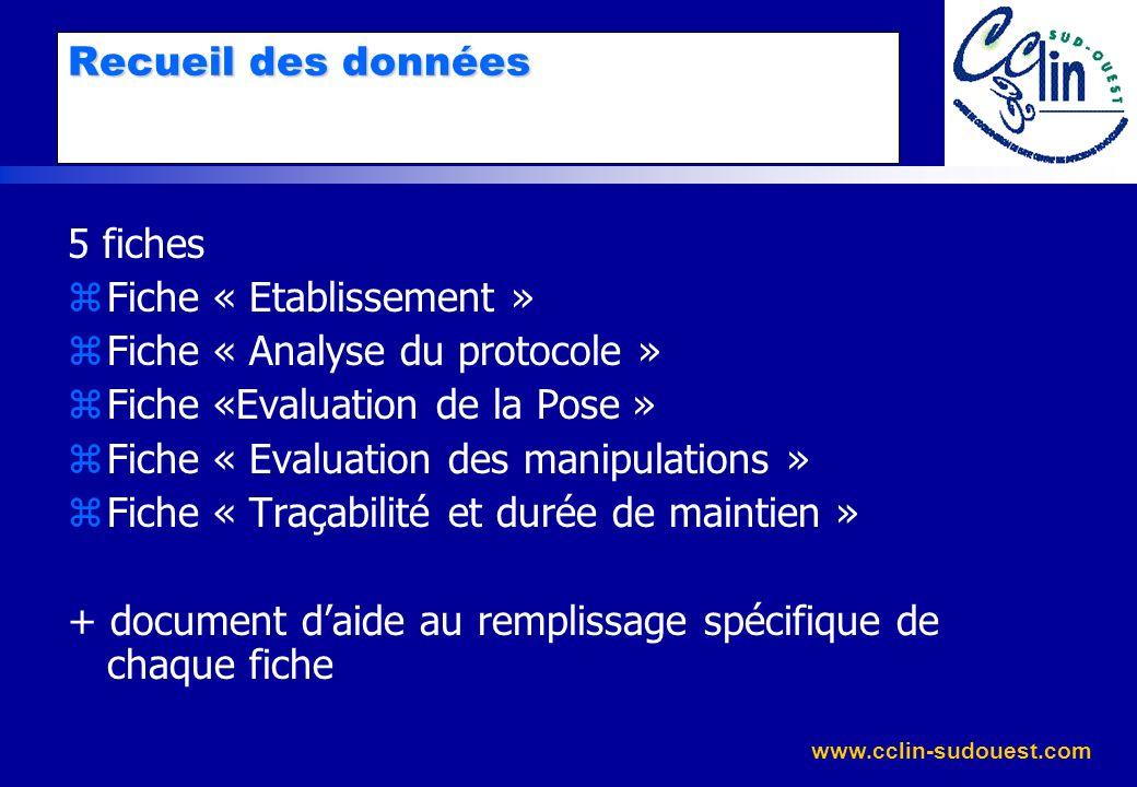 www.cclin-sudouest.com Recueil des données 5 fiches zFiche « Etablissement » zFiche « Analyse du protocole » zFiche «Evaluation de la Pose » zFiche «