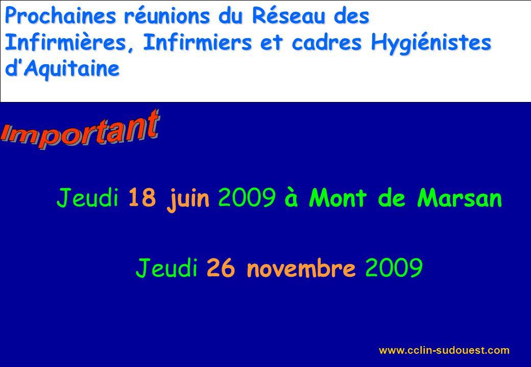 www.cclin-sudouest.com Prochaines réunions du Réseau des Infirmières, Infirmiers et cadres Hygiénistes dAquitaine Jeudi 18 juin 2009 à Mont de Marsan