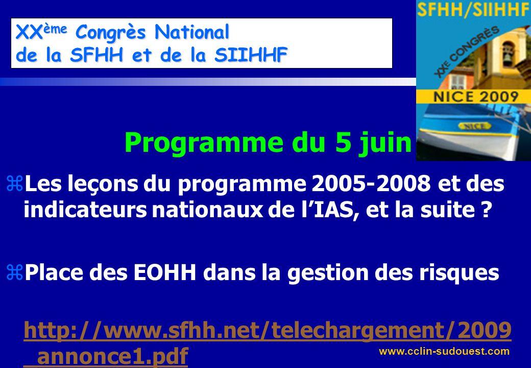www.cclin-sudouest.com XX ème Congrès National de la SFHH et de la SIIHHF Programme du 5 juin zLes leçons du programme 2005-2008 et des indicateurs na