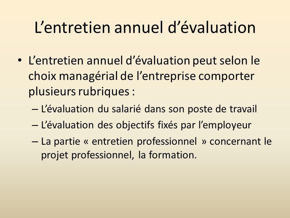 Lentretien annuel dévaluation Lentretien annuel dévaluation peut selon le choix managérial de lentreprise comporter plusieurs rubriques : – Lévaluatio