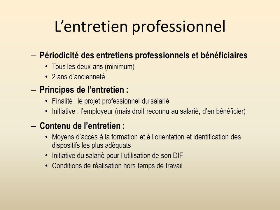 Lentretien professionnel – Périodicité des entretiens professionnels et bénéficiaires Tous les deux ans (minimum) 2 ans dancienneté – Principes de len