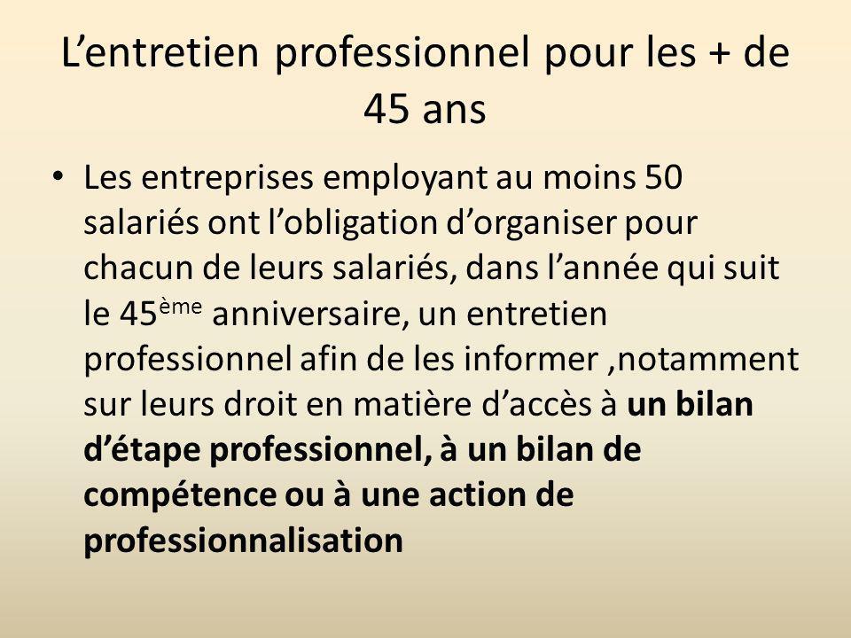 Lentretien professionnel pour les + de 45 ans Les entreprises employant au moins 50 salariés ont lobligation dorganiser pour chacun de leurs salariés,