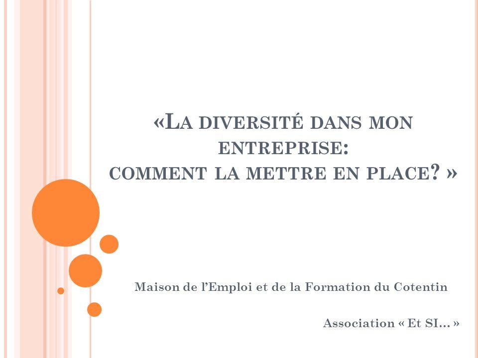 Maison de lEmploi et de la Formation du Cotentin Association « Et SI… » «L A DIVERSITÉ DANS MON ENTREPRISE : COMMENT LA METTRE EN PLACE ? »